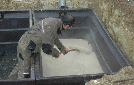 mise en place du sable zéolite
